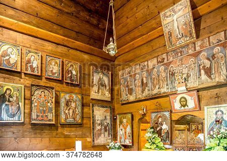 Trocany,slovakia - June 10,2020 - View At The Interior Of Wooden Church Of Saint Luke In Trocany. Th