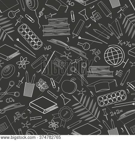 Seamless Pattern With School Supplies. Icons Of Stationery For Study On A Black Background. Back To