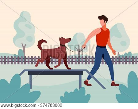 Vector Illustration Of A Dog Handler Specialist Training A Dog