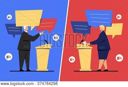 Vector Illustration Of Debate Between Two Politicians