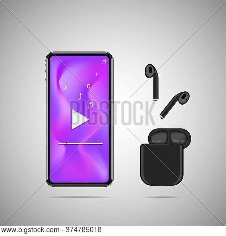 Smartphone With Wireless Earphone And Music Note.