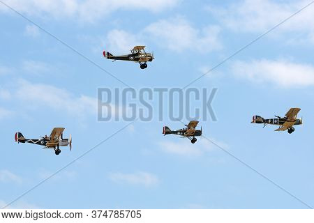 Avalon, Australia - February 25, 2015: Formation Of Four World War 1 Aircraft Comprised Of A Bristol