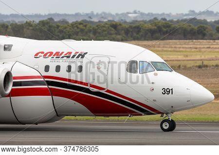Avalon, Australia - February 24, 2015: Coulson Aviation Bae Systems 146 (avro Rj85) Aerial Fire Figh