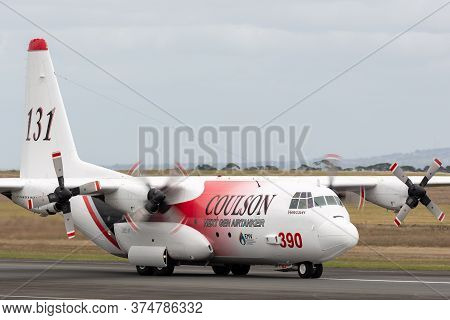 Avalon, Australia - February 24, 2015: Coulson Aviation Lockheed Ec-130q Large Aerial Fire Fighting