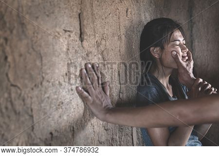 Woman Bondage In Angle Of Abandoned Building  , Stop Violence Against Women, International Women's D
