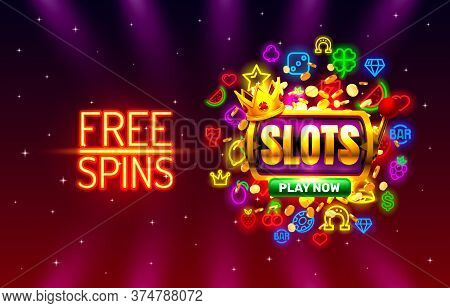 Slots Free Spins, 777 Slot Sign Machine. Vector
