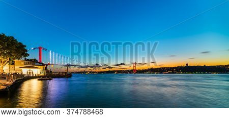 Istanbul Bosphorus Bridge Sunset View. 15th July Martyrs Bridge (15 Temmuz Sehitler Koprusu). Colorf