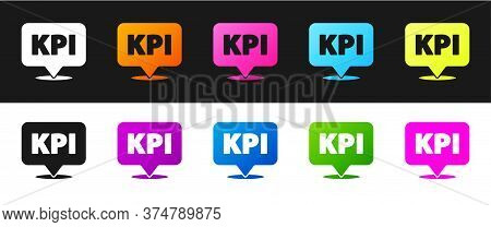 Set Kpi - Key Performance Indicator Icon Isolated On Black And White Background. Vector