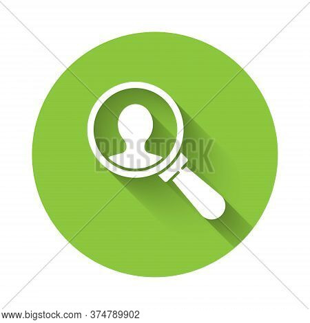 White Magnifying Glass For Search A People Icon Isolated With Long Shadow. Recruitment Or Selection