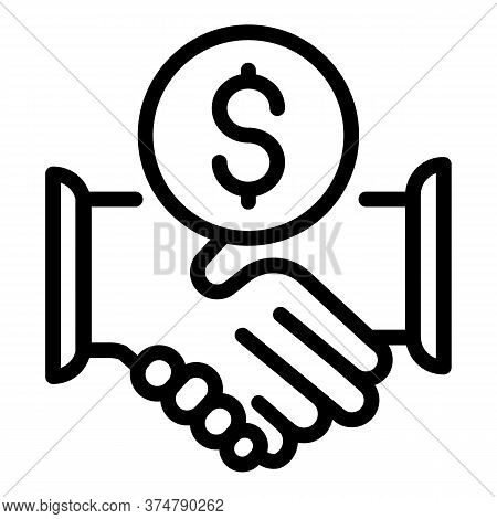 Broker Money Handshake Icon. Outline Broker Money Handshake Vector Icon For Web Design Isolated On W