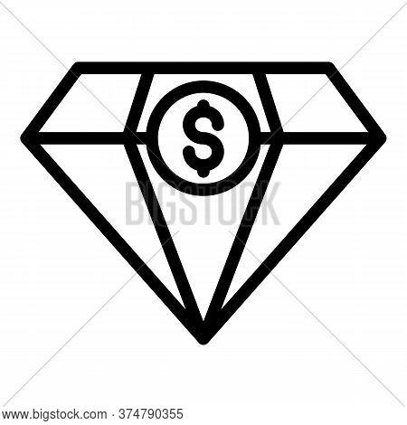 Diamond Money Broker Icon. Outline Diamond Money Broker Vector Icon For Web Design Isolated On White