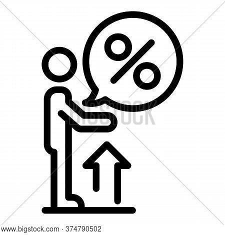 Broker Percent Money Icon. Outline Broker Percent Money Vector Icon For Web Design Isolated On White