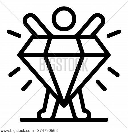Diamond Broker Stage Icon. Outline Diamond Broker Stage Vector Icon For Web Design Isolated On White