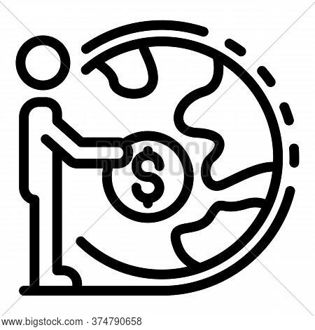 Global Broker Money Coin Icon. Outline Global Broker Money Coin Vector Icon For Web Design Isolated