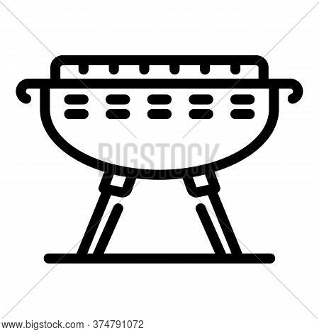 Barbeque Brazier Icon. Outline Barbeque Brazier Vector Icon For Web Design Isolated On White Backgro