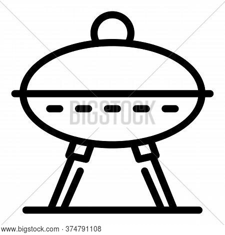 Picnic Grill Icon. Outline Picnic Grill Vector Icon For Web Design Isolated On White Background