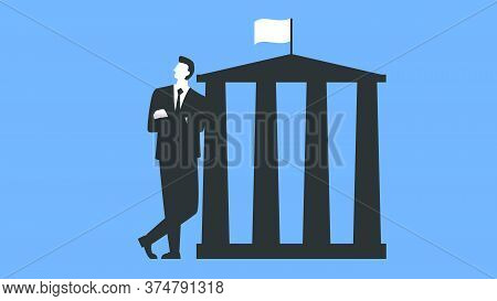 Vector Illustration Of A Lawyer Standing Next To The Court Building. Confident Man In A Suit Standin