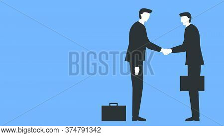 Vector Illustration Of A Two People Meeting And Shaking Hands. Two Businessmen In Suits And With Bri