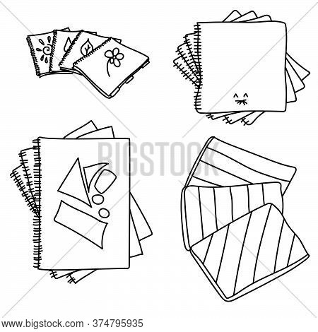 Set Of Copybooks Outline Illustration, Vector Graphics On The Theme Back To School, Coloring Page St