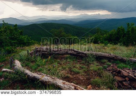 Rain Over Forest Mountains. Misty Mountain Landscape Hills At Rainy Day.
