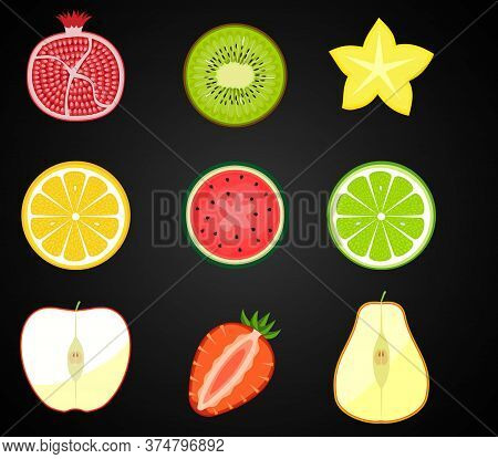 Vector Fresh Fruits, Vegetables Cut In Half, Cross Section. Set Of Cute And Colorful Collection Icon
