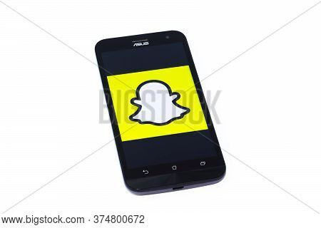 Kouvola, Finland - 23 January 2020: Snapchat App Logo On The Screen Of Smartphone Asus