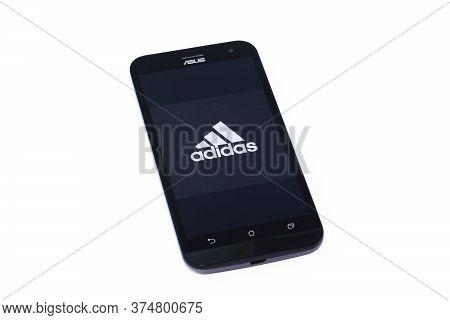 Kouvola, Finland - 23 January 2020: Adidas App Logo On The Screen Of Smartphone Asus