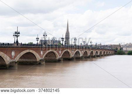 Bordeaux, Gironde / France - 05 26 2019 : Bordeaux Southwest France The Pont De Pierre On The Garonn