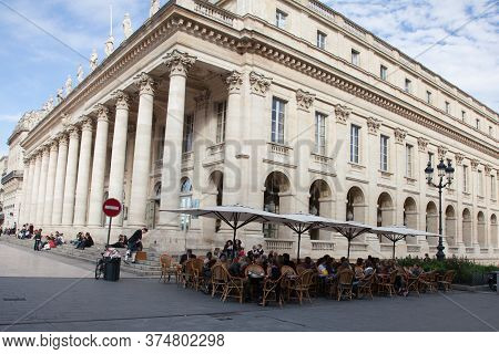 Bordeaux , Aquitaine / France - 10 30 2019 : Facade Of Theatre Opera Of Bordeaux Le Grand Theatre Fr