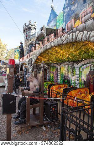 Bordeaux , Aquitaine / France - 11 19 2019 : Horror Terrify Showman Funfair Ghost Train Entrance