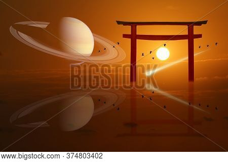 Saturn Over Torii Sunset And Comet Had Fall And Silhouette Birds Flying On The Sea