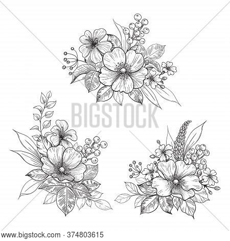 Hand Drawn Bunches With Dog-rose Flowers And Small Wildflowers Isolated On White. Vector Monochrome