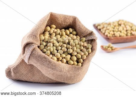 Yellow-green Taiwanese Organic Non-gmo Soybeans, Soy Beans In A Container Isolated On White Backgoru