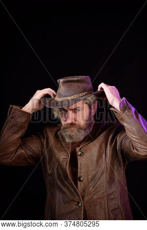 Cowboy Style. Handsome Bearded Man In Cowboy Hat. Sexy Western Man With Hat. Handsome Bearded Cowboy