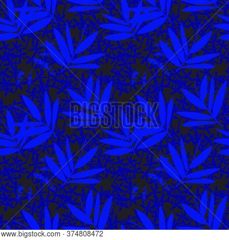Blue Tropical Botanical Leaf Seamless Pattern Background
