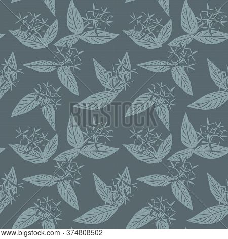 Grey Tropical Botanical Leaf Seamless Pattern Background