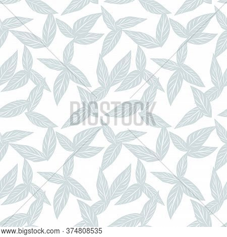 White Tropical Botanical Leaf Seamless Pattern Background