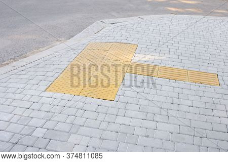 Special Tracks For The Blind And Visually Impaired. Tactile Coating. Tactile Paving, Braille Blocks,