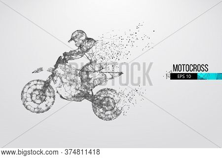 Abstract Silhouette Of A Wireframe Motocross Rider From Particles On The White Background. Convenien
