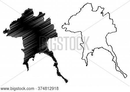 Bandar Lampung City (republic Of Indonesia, Sumatra Island) Map Vector Illustration, Scribble Sketch