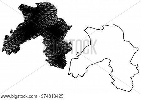Karaj City (islamic Republic Of Iran, Persia, Alborz Province) Map Vector Illustration, Scribble Ske