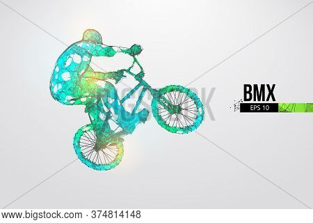 Silhouette Of A Bmx Rider. Convenient Organization Of Eps File. Background, Text And Basic Elements