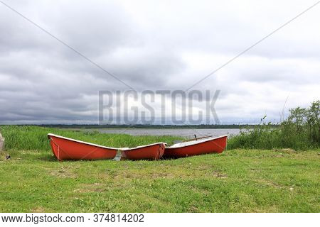 View Of Boats On Estuary Of Lake Seliger