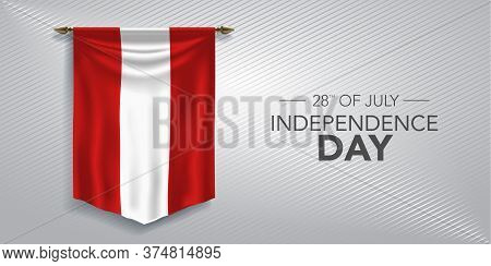 Peru Independence Day Greeting Card, Banner, Vector Illustration