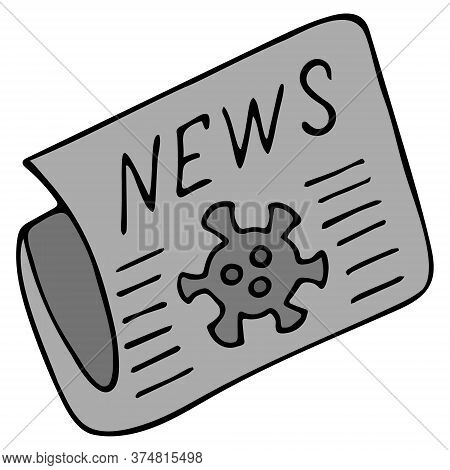 Newspaper With News. Vector Illustration. Information About The Outbreak Of Coronavirus Infection Co