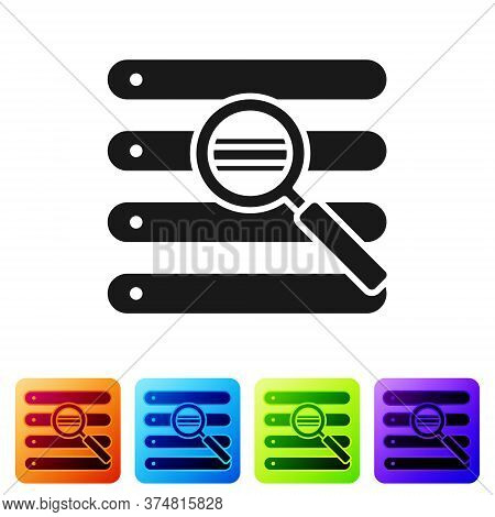 Black Search In A Browser Window Icon Isolated On White Background. Set Icons In Color Square Button