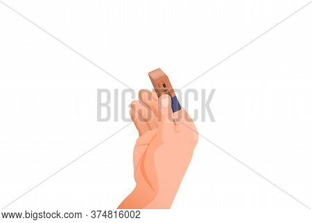 Hand Holds An Eraser. Erasing Unnecessary Information