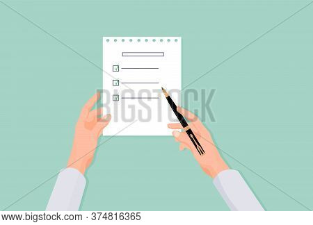 Hands Fill List In Questionnaire. Choosing Right