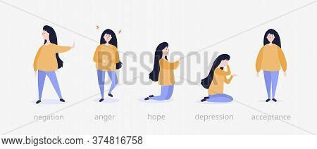 Five Steps Of Grief Illustration. Girl At