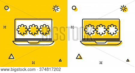 Black Laptop With Password Notification Icon Isolated On Yellow And White Background. Security, Pers